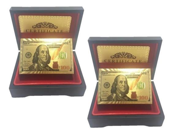 Kit 2 Baralhos Dourado Ouro 24k Folheado Poker Cartas Dolar