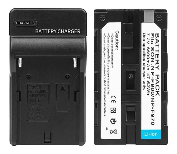 Bateria Np F970 Iluminador Led 6600mah + Carregador Np F970