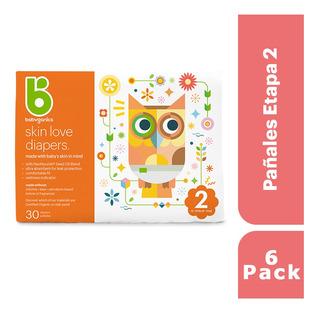 6 Pack: Babyganics Pañales Etapa 2, 30 Unidades C/u