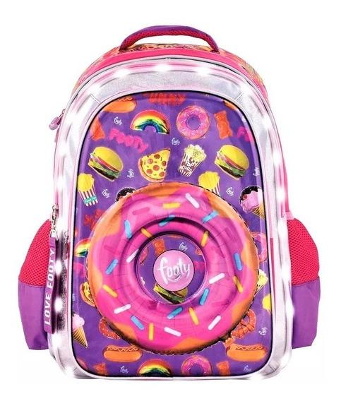 Mochila Footy Luz Led Donuts 3d Espalda 18 + Mochilita 12