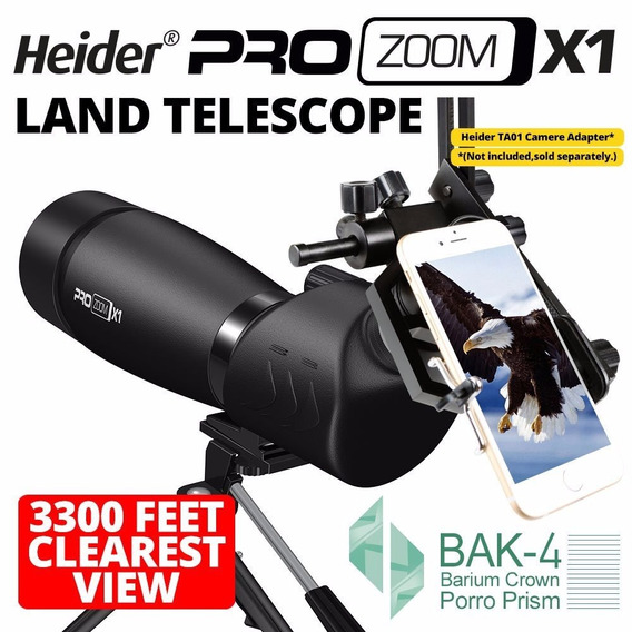 Telescópio Terrestre Heider Pro Zoom X1 20-60x60