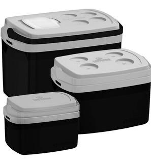 3 Caixas Térmicas Tropical 32, 12 E 5 Litros Preto Soprano