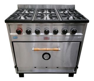 Cocina Industrial Tecnocalor 87cm 6 Hornallas Horno Pizzero