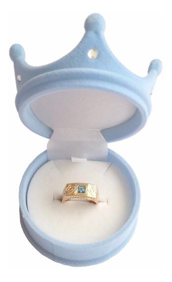 Anel Formatura Infantil C/ Pedra De Cristal Azul E Embalagem