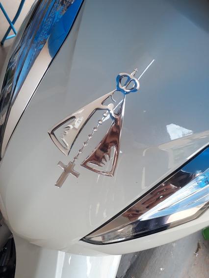 3 Adesivos Nossa Senhora 3d Alto Relevo Prata Resinado Carro