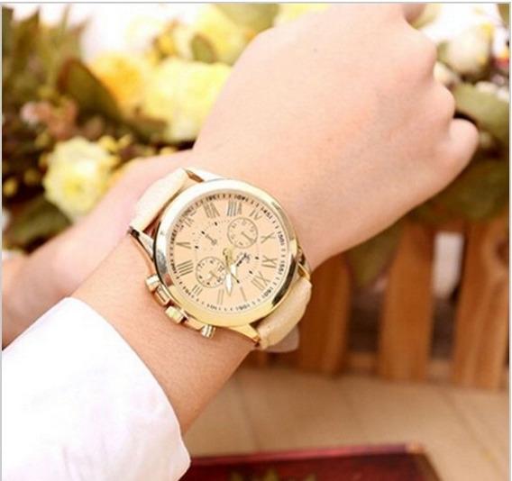 Relógio De Couro Feminino Genebra Platinum