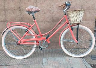 Bicicleta Vintage Con Porta Paquete Maxima Calidad !!