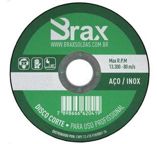 Disco De Corte Para Aço Inox 4.1/2 Pol. Kit C/ 50 Peças Brax