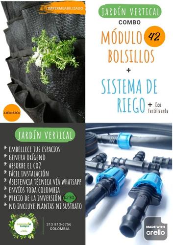 Jardín Vertical 1.50m2+sistema De Riego+ecofertilizante