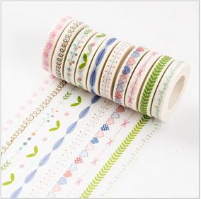 10 Rolos De Fita Adesiva Washi Tape Scrapbook 7mm X 10m