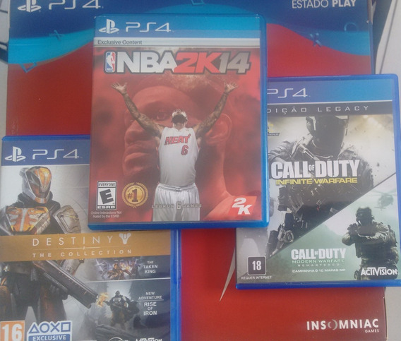 Pct De Jogos Ps4 Destinycollection- Cod Inf.warfare- Nba2k14