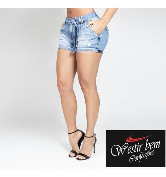Shorts Fem Jeans Claro C/ Cinto Original Pit Bull Ref. 29183