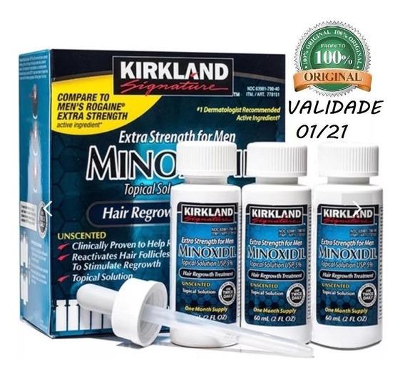 Minoxidil Kirkland 5% P/ 3 Meses - Crescimento De Barba