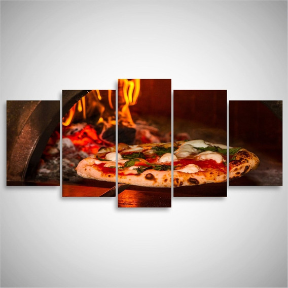 Quadro Decorativo Pizza No Forno Para Restaurantes Mosaico