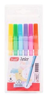 Marcadores Escolares Trabi Junior Pastel Estuche X6 Colores