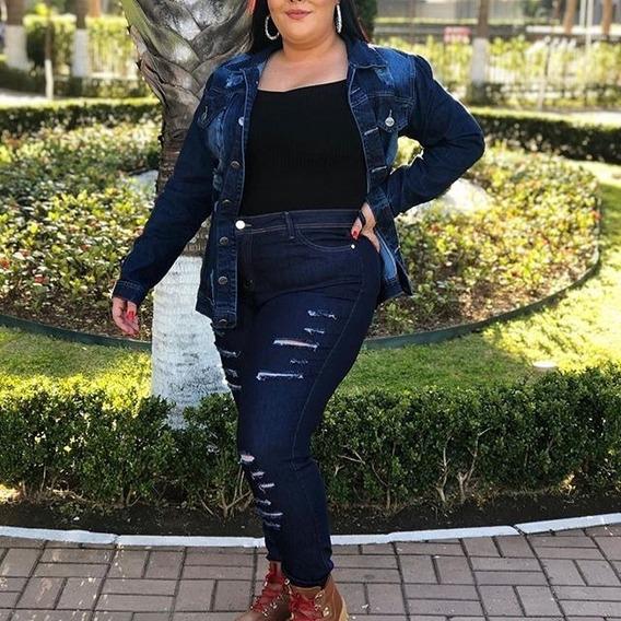 Jaqueta Jeans Plus Size Feminino Detalhe Desbotado G1 Ao G5