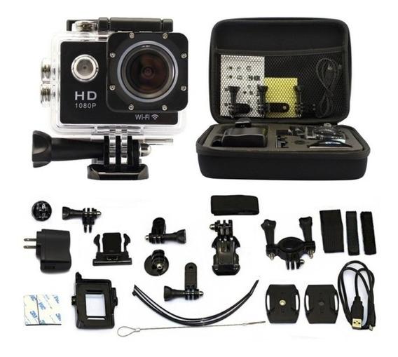 Kit Camera Filmadora Esportiva 20 Itens Hd 1080p + Maleta