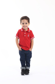 Camisa Polo Masculina Infantil Vermelha Paixão