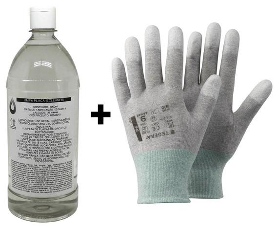 1l Ecleaner Limpa Placa 99,8% + Luva Anti Estatica Esd