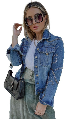 Imagem 1 de 3 de Jaqueta Jeans Feminina True By Michelle Fernandez