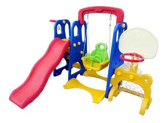 Playground Infantil 5x1 Gol Escorregador Balança 2 Cestas