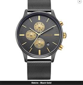 fa8addcb9e40 Precio. Publicidad. Baogela Hombre Negro Oro Reloj Cronógrafo Acero  Inoxidable