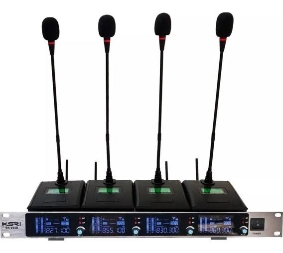 Microfone Sem Fio Ksr Mesa Com 4 Gooseneck Bs054b