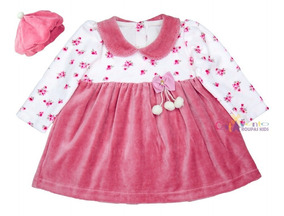 Vestido Infantil Bebê Inverno Várias Cores Com Chapeuzinho