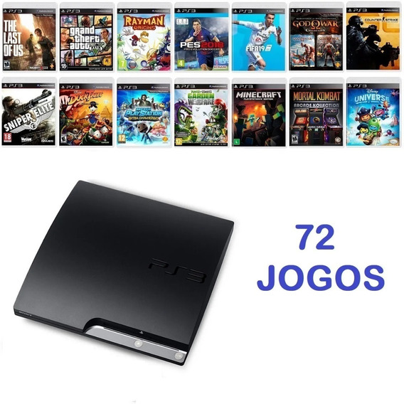 Playstation 3 Ps3 Slim + 72 Jogos Completos