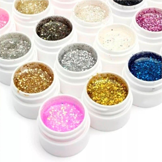Gel Con Glitter Uv Para Uñas Gelificadas X12 Colores