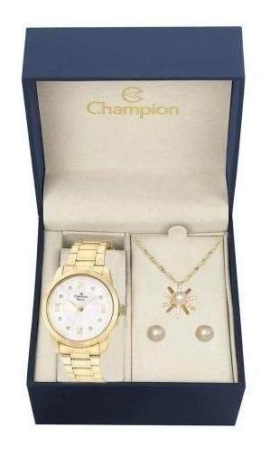 Kit Relógio Feminino Champion Analógico Cn25289w - Dourado