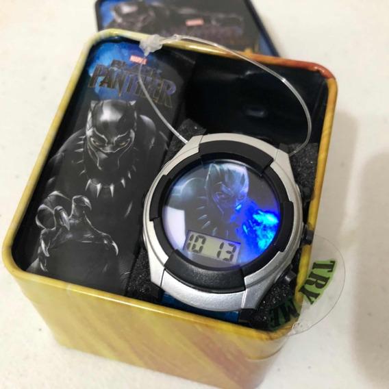 Reloj Marvel Black Panther Con Luz Original Y Nuevo Niño
