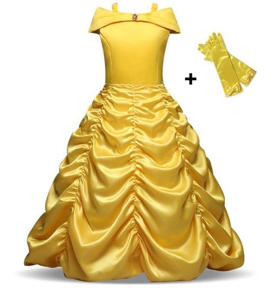 Vestido Festa Fantasia Bela E Fera Infantil Princesa + Luva