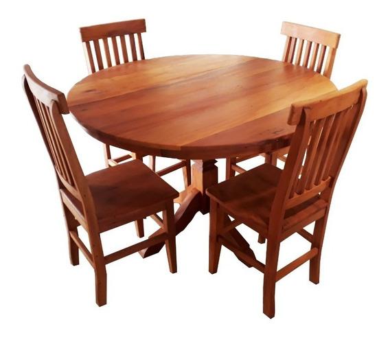 Jogo De Jantar 80cm Redonda Com 4 Cadeiras Madeira Maciça