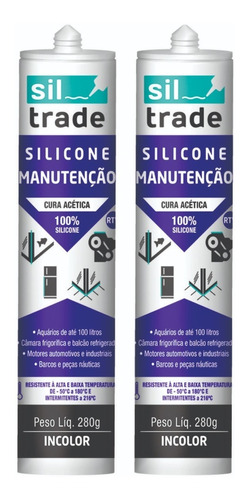 2 X Silicone Siltrade Manutenção Preto 280g + 2 Incolor 280