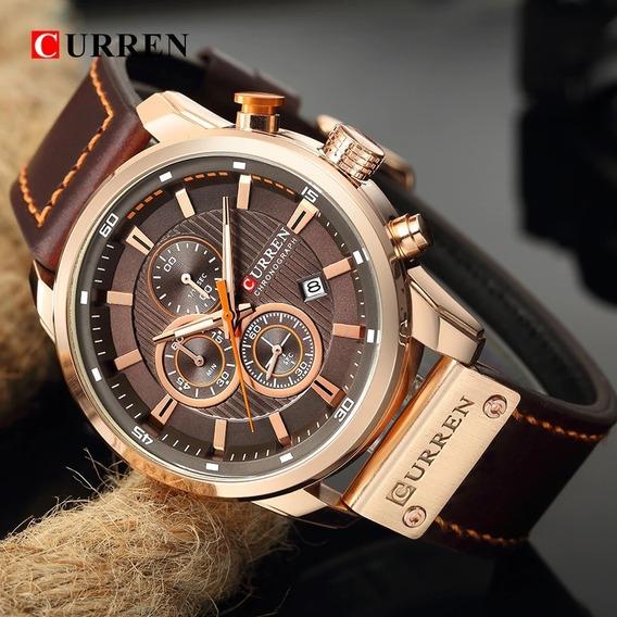 Relógio Masculino Curren 8291 Pulseira De Couro Cronógrafo