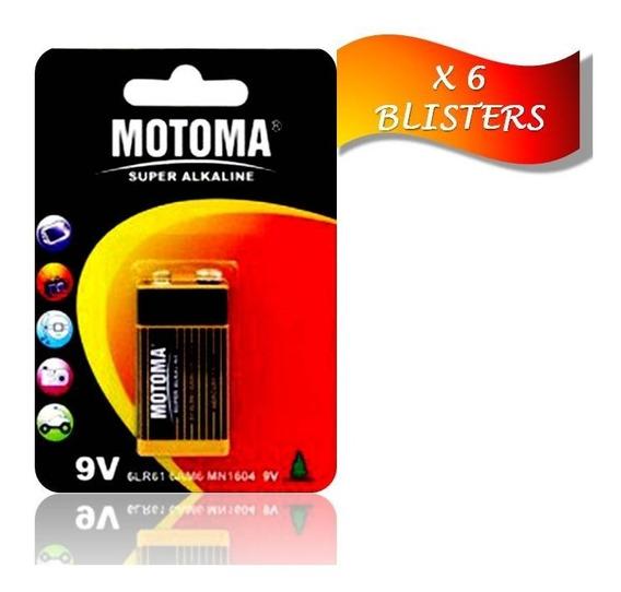Pila Batería Alcalina 9 V Motoma Pack 6 Blisters 6 Unidades