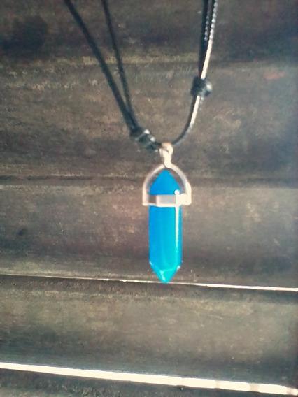Colar Pedra Azul Cordão Regulável