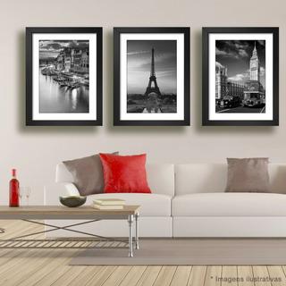 Quadro Veneza Paris Londres Italia Eiffel Big Ben Kit C/ 3
