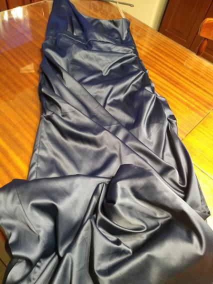 Vestido Imp Con Un Solo Hombro En Saten Azul Noche/viole Ts/