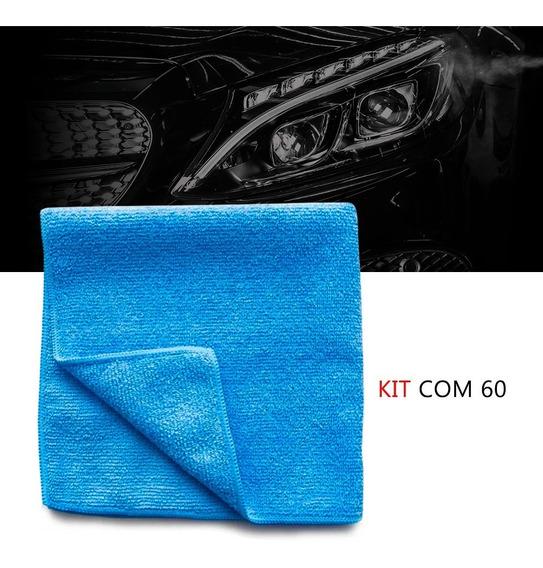 Kit 60 Pano Microfibra Automotiva Flanela Anti-risco Toalha