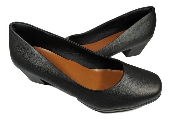 Sapato Scarpin Usaflex Feminino Preto Salto Baixo 5cm