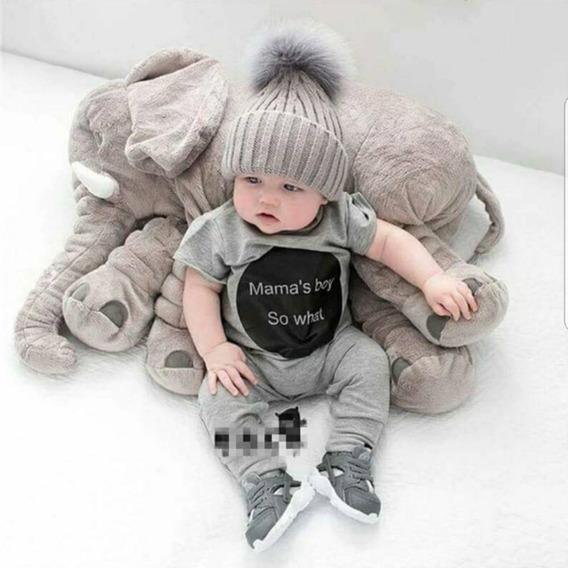 Almofada Elefante De Pelúcia 62cm Travesseiro Para Bebê
