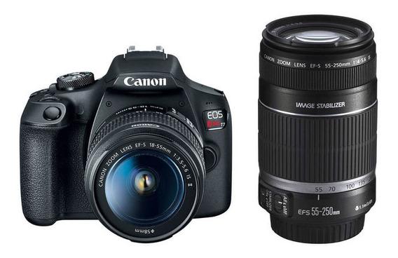 Kit Dslr Canon Eos Rebel T7 Com Lentes 18-55mm E 55-250 Ii