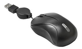 Mouse Retrátil Óptico Usb 800dpi Com Scroll Cabo 80cm Preto