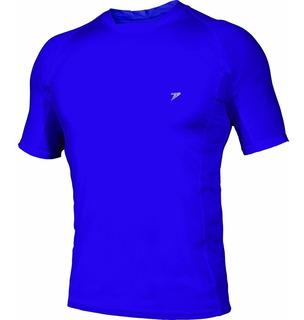 Camisa Térmica Poker Skin Basic Manga Curta Azul Ótima