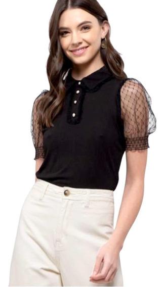 Blusa Para Mujer Mangas De Encaje Y Botones De Perla
