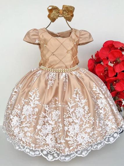 Vestido Festa Formatura Infantil Floral Dourado Escuro Luxo