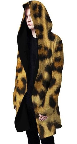 Sobretudo Alongado Gotico Leopardo Skin Onça Pele Pimp