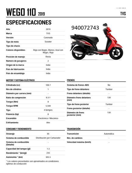 Scooter Tvs Wego 110 Color Rojo Con Negro De Motor 4 Tiempos